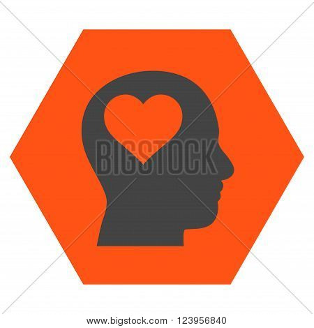 Lover Head vector symbol. Image style is bicolor flat lover head pictogram symbol drawn on a hexagon with orange and gray colors.
