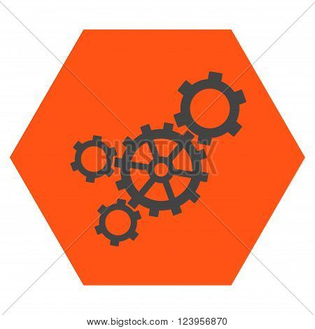 Mechanism vector icon. Image style is bicolor flat mechanism iconic symbol drawn on a hexagon with orange and gray colors.