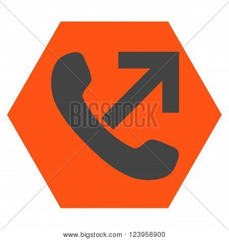 Outgoing Call vector icon symbol. Image style is bicolor flat outgoing call iconic symbol drawn on a hexagon with orange and gray colors.