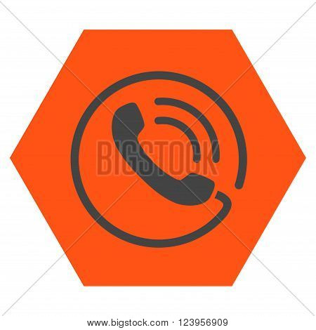 Phone Call vector symbol. Image style is bicolor flat phone call icon symbol drawn on a hexagon with orange and gray colors.