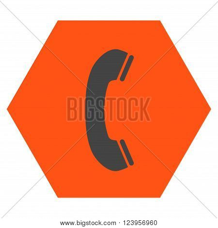Phone Receiver vector icon. Image style is bicolor flat phone receiver icon symbol drawn on a hexagon with orange and gray colors.