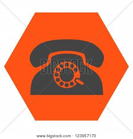 Pulse Phone vector icon symbol. Image style is bicolor flat pulse phone iconic symbol drawn on a hexagon with orange and gray colors.