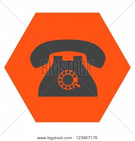 Pulse Phone vector icon symbol. Image style is bicolor flat pulse phone pictogram symbol drawn on a hexagon with orange and gray colors.
