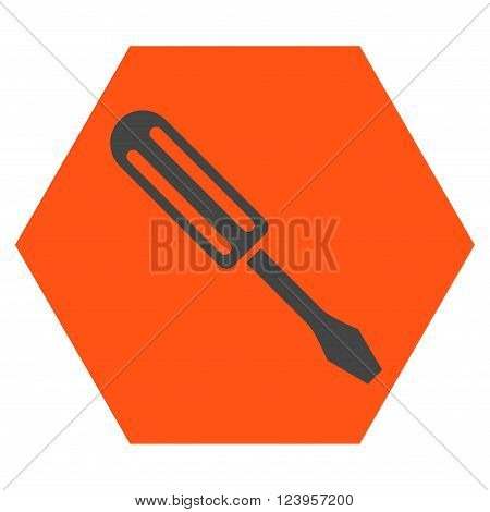Screwdriver vector symbol. Image style is bicolor flat screwdriver icon symbol drawn on a hexagon with orange and gray colors.