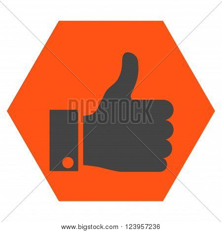 Thumb Up vector icon. Image style is bicolor flat thumb up icon symbol drawn on a hexagon with orange and gray colors.