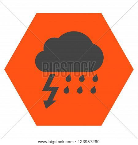 Thunderstorm vector symbol. Image style is bicolor flat thunderstorm icon symbol drawn on a hexagon with orange and gray colors.