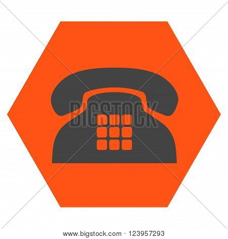 Tone Phone vector icon. Image style is bicolor flat tone phone pictogram symbol drawn on a hexagon with orange and gray colors.
