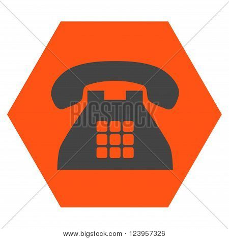 Tone Phone vector icon symbol. Image style is bicolor flat tone phone pictogram symbol drawn on a hexagon with orange and gray colors.