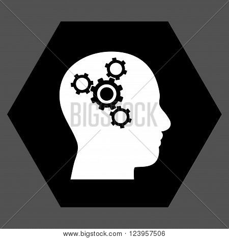 Brain Mechanics vector pictogram. Image style is bicolor flat brain mechanics iconic symbol drawn on a hexagon with black and white colors.