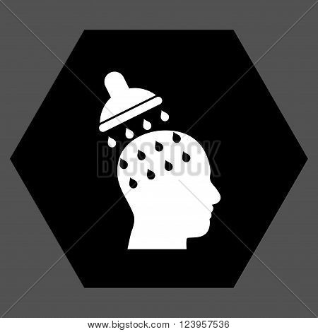 Brain Washing vector symbol. Image style is bicolor flat brain washing iconic symbol drawn on a hexagon with black and white colors.