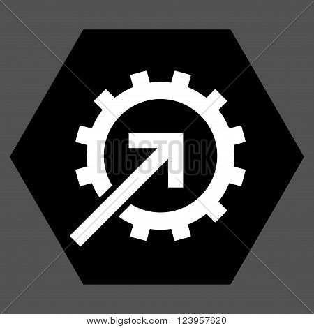 Cog Integration vector symbol. Image style is bicolor flat cog integration icon symbol drawn on a hexagon with black and white colors.