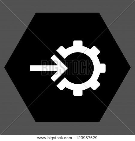 Cog Integration vector icon. Image style is bicolor flat cog integration pictogram symbol drawn on a hexagon with black and white colors.