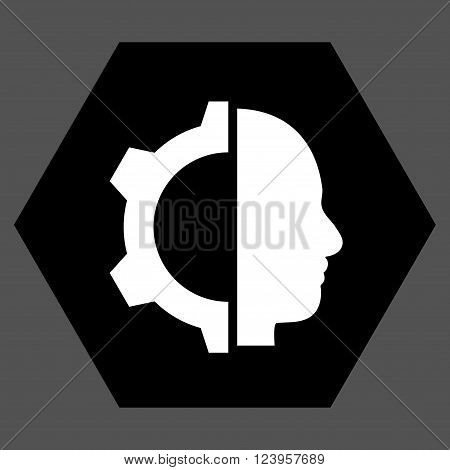 Cyborg Gear vector pictogram. Image style is bicolor flat cyborg gear iconic symbol drawn on a hexagon with black and white colors.
