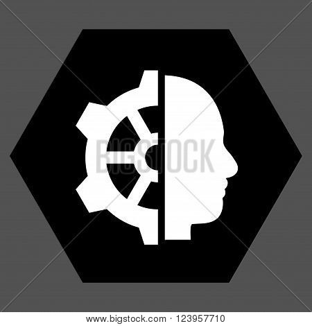 Cyborg Gear vector icon symbol. Image style is bicolor flat cyborg gear pictogram symbol drawn on a hexagon with black and white colors.