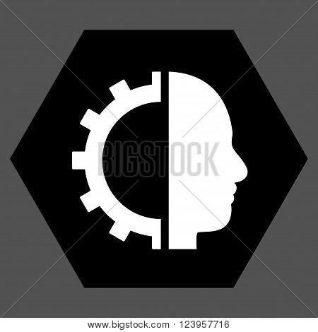 Cyborg Gear vector pictogram. Image style is bicolor flat cyborg gear icon symbol drawn on a hexagon with black and white colors.