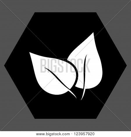 Flora Plant vector symbol. Image style is bicolor flat flora plant iconic symbol drawn on a hexagon with black and white colors.