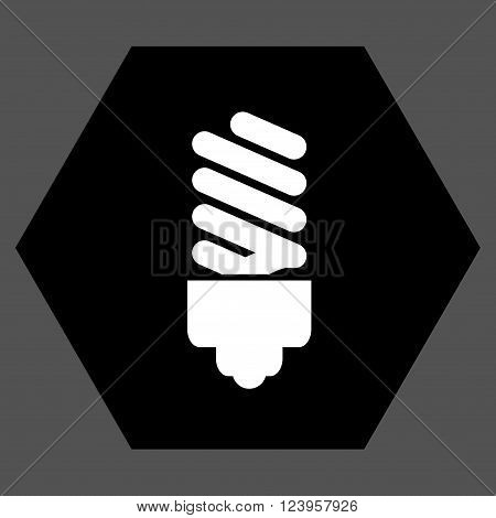 Fluorescent Bulb vector icon. Image style is bicolor flat fluorescent bulb pictogram symbol drawn on a hexagon with black and white colors.