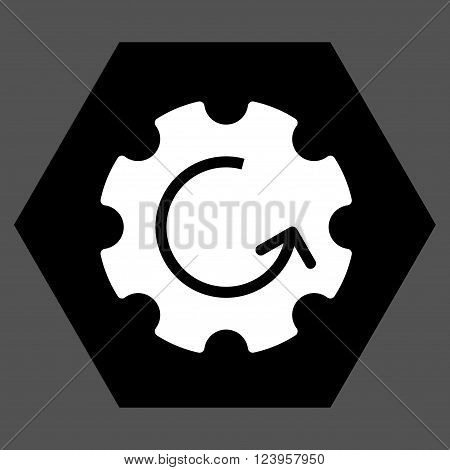 Gear Rotation vector symbol. Image style is bicolor flat gear rotation icon symbol drawn on a hexagon with black and white colors.