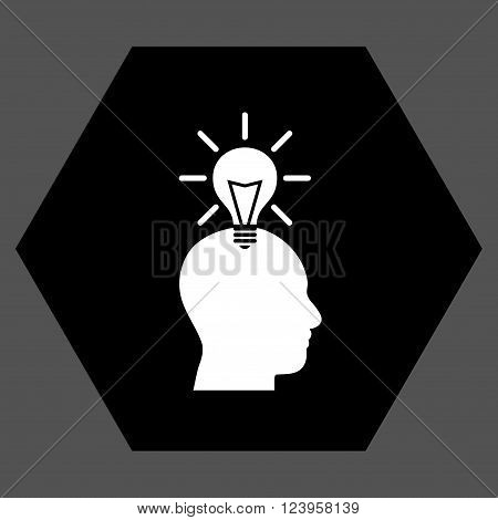 Genius Bulb vector symbol. Image style is bicolor flat genius bulb iconic symbol drawn on a hexagon with black and white colors.