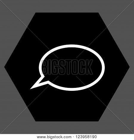 Hint Cloud vector pictogram. Image style is bicolor flat hint cloud iconic symbol drawn on a hexagon with black and white colors.