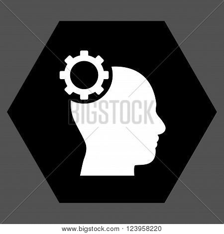 Intellect Gear vector symbol. Image style is bicolor flat intellect gear pictogram symbol drawn on a hexagon with black and white colors.