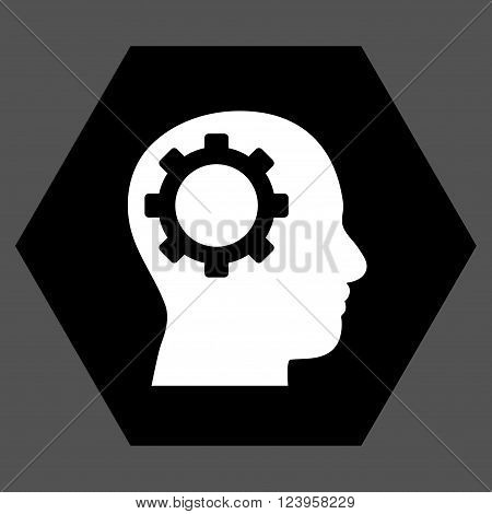 Intellect Gear vector pictogram. Image style is bicolor flat intellect gear icon symbol drawn on a hexagon with black and white colors.