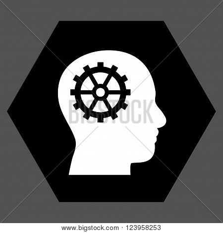 Intellect vector icon symbol. Image style is bicolor flat intellect icon symbol drawn on a hexagon with black and white colors.