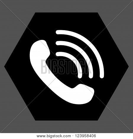 Phone Call vector icon. Image style is bicolor flat phone call pictogram symbol drawn on a hexagon with black and white colors.