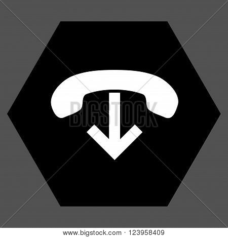 Phone Hang Up vector pictogram. Image style is bicolor flat phone hang up icon symbol drawn on a hexagon with black and white colors.