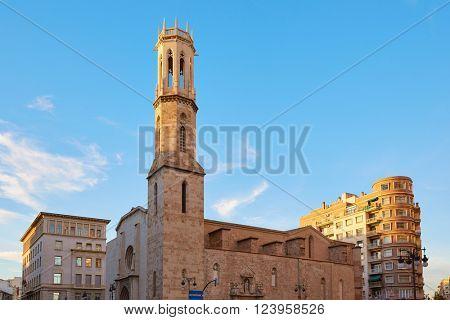 Valencia Xativa street and Sant Agusti church square in Spain San Agustin