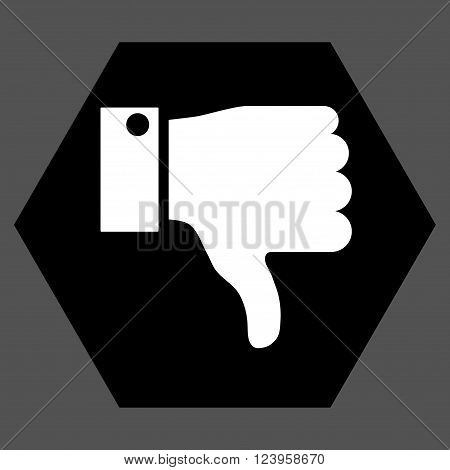 Thumb Down vector icon. Image style is bicolor flat thumb down iconic symbol drawn on a hexagon with black and white colors.