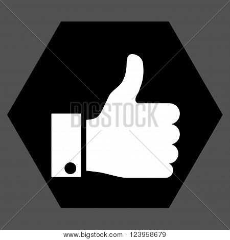 Thumb Up vector icon symbol. Image style is bicolor flat thumb up iconic symbol drawn on a hexagon with black and white colors.