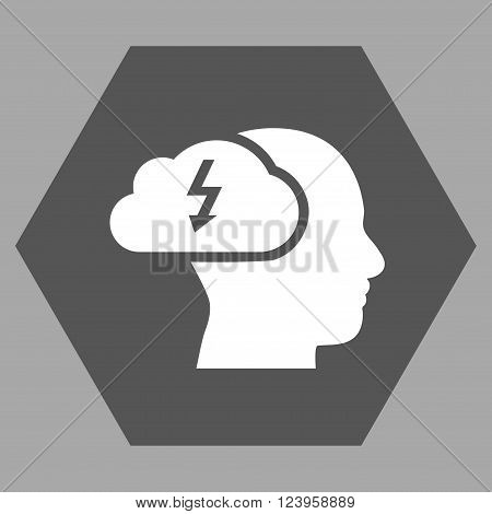 Brainstorming vector icon. Image style is bicolor flat brainstorming icon symbol drawn on a hexagon with dark gray and white colors.