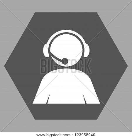 Call Center Operator vector icon. Image style is bicolor flat call center operator icon symbol drawn on a hexagon with dark gray and white colors.