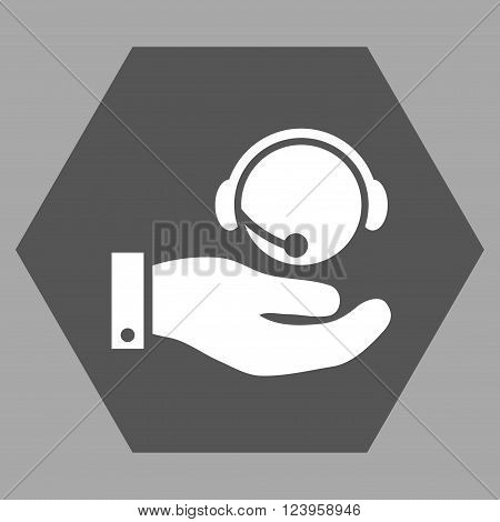 Call Center Service vector icon. Image style is bicolor flat call center service iconic symbol drawn on a hexagon with dark gray and white colors.