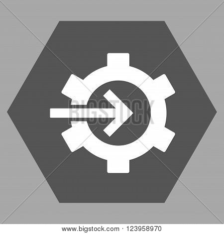 Cog Integration vector icon. Image style is bicolor flat cog integration pictogram symbol drawn on a hexagon with dark gray and white colors.