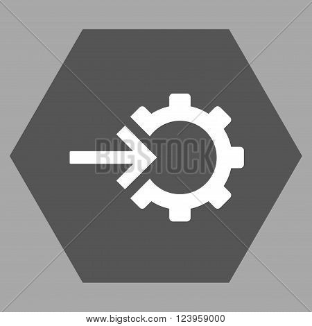Cog Integration vector symbol. Image style is bicolor flat cog integration pictogram symbol drawn on a hexagon with dark gray and white colors.