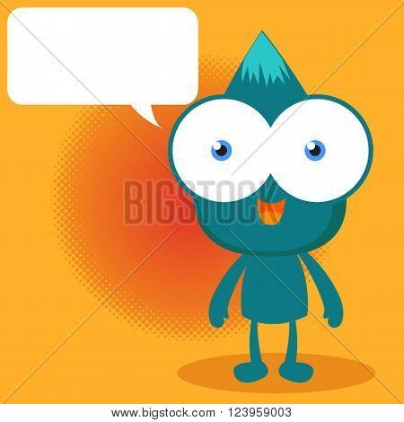 Blue monster talking on orange background , cute monster and speech bubble