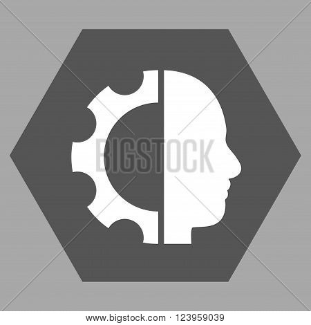 Cyborg Gear vector icon. Image style is bicolor flat cyborg gear iconic symbol drawn on a hexagon with dark gray and white colors.