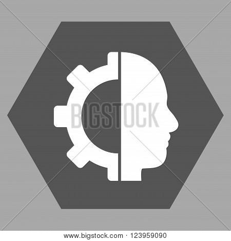 Cyborg Gear vector icon. Image style is bicolor flat cyborg gear icon symbol drawn on a hexagon with dark gray and white colors.