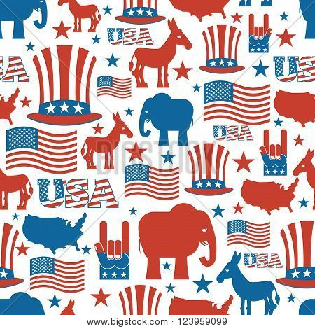 American Seamless Pattern. Usa Election Symbols National Pattern. Uncle Sam Hat. American Flag And M