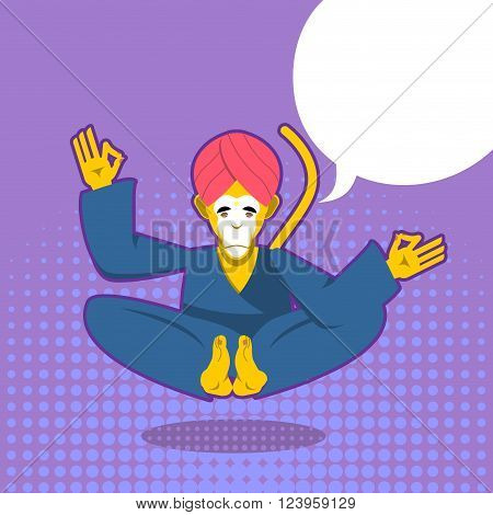 Monkey yoga. Monkey yogi meditates in pop art style. Animal meditating. Monkey in Indian turban. Beast in Nirvana. Animals yoga