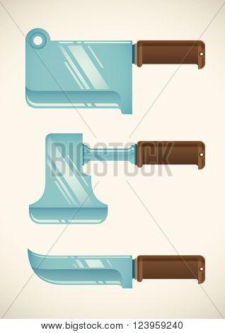 Set of butcher blades. Vector illustration.