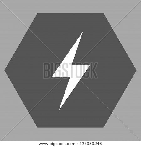 Electricity vector symbol. Image style is bicolor flat electricity icon symbol drawn on a hexagon with dark gray and white colors.