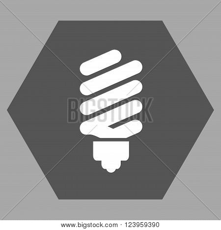 Fluorescent Bulb vector icon symbol. Image style is bicolor flat fluorescent bulb pictogram symbol drawn on a hexagon with dark gray and white colors.