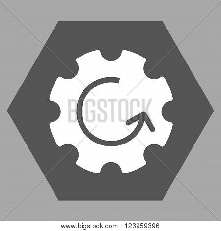 Gear Rotation vector icon symbol. Image style is bicolor flat gear rotation icon symbol drawn on a hexagon with dark gray and white colors.