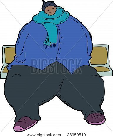 Cartoon Caricature Of Obese Woman