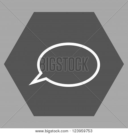 Hint Cloud vector pictogram. Image style is bicolor flat hint cloud icon symbol drawn on a hexagon with dark gray and white colors.