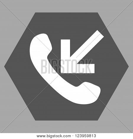 Incoming Call vector icon symbol. Image style is bicolor flat incoming call icon symbol drawn on a hexagon with dark gray and white colors.