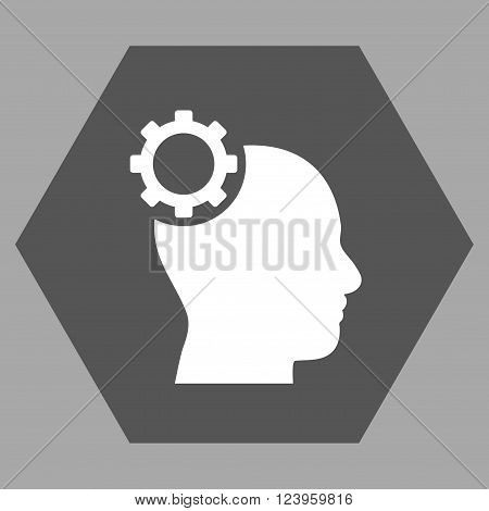 Intellect Gear vector icon symbol. Image style is bicolor flat intellect gear pictogram symbol drawn on a hexagon with dark gray and white colors.